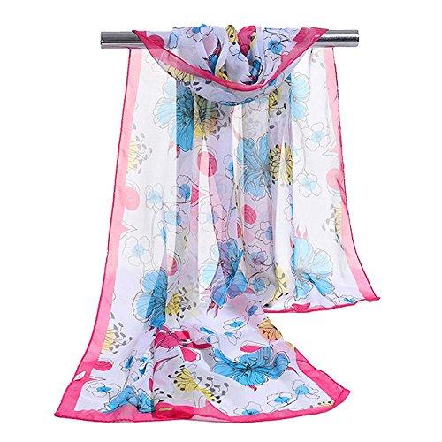 16050cm Women's Sunscreen Scarf Chiffon Flowers Printing Soft Shawl, 5 pcs , rose red , one - Rose Blue Gold Kors Face Michael