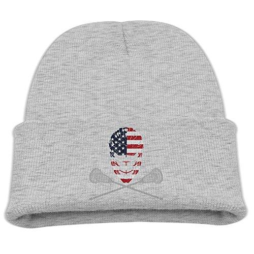 Lacrosse Sticks Crossed (Lacrosse Helmet Crossed Sticks Unisex Kids Warm Winter Hat Knit Beanie Skull Cap Cuff Beanie Hat Winter Hats Ash)