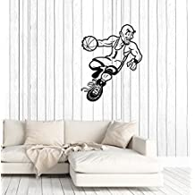 Wall Decal Sport Game Basketball Player Cartoon Caricature Vinyl Sticker Unique Gift (ed594)