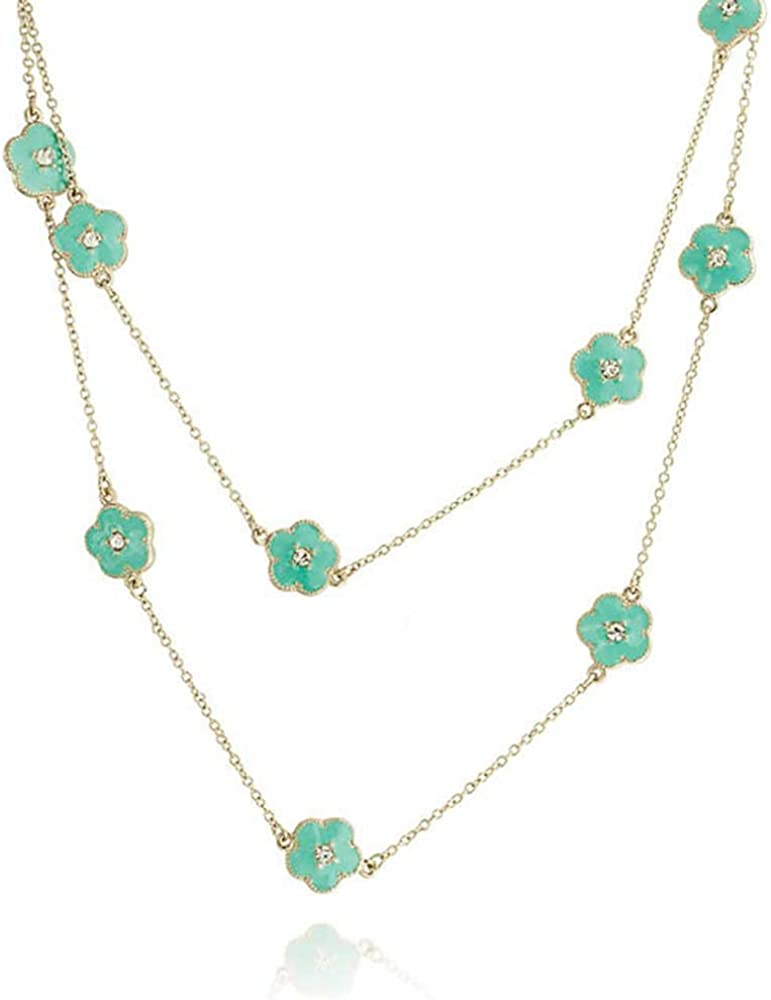 White Pink Orange Flower Long Gold Plated Crystal Accent Station Chain Wrap Layer Clover Necklace for Women 40 Inch