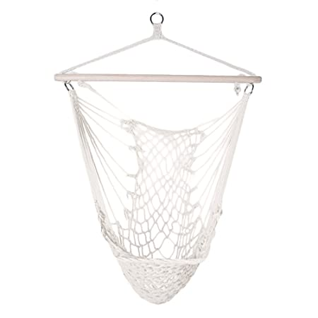 Lovinland Portable Hammock Chair, Hanging Rope Swing Cotton Patio Yard Sky Chair for Indoor Outdoor Use Beige
