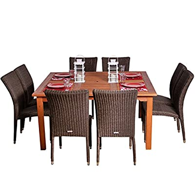 Amazonia Provence 9-Piece Dining Set - Amazonia Eucalyptus Collection 1 Square Table 60Wx60Lx29H. 8 High-back Chairs 26Lx18.5Wx36H. Seat Dimensions:16Wx18Dx17H High Quality Eucalyptus Wood (Eucalyptus Grandis) - patio-furniture, dining-sets-patio-funiture, patio - 51OmztwuX L. SS400  -