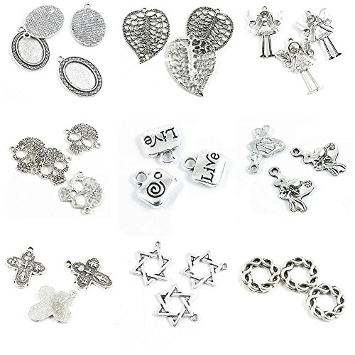 29 PCS Jewelry Making Charms Twisted Rings 15MM Star of David Jesus Cross Lady Straw Hat Live Square Bag