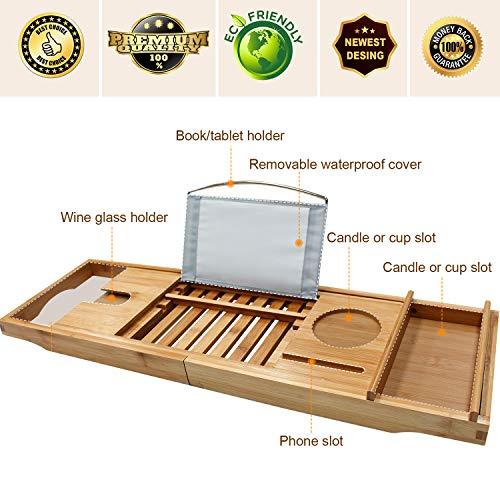 Bamboo Bathtub Caddy Tray Bathroom Organizer With Expandable Sides