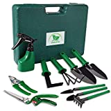 Verkarma Garden Tools Set, 10 Piece Portable Stainless Steel Gardening Tools Sets with Mini Garden Hand Transplanting Succulent Tools, Gardening Gifts for Women & Men