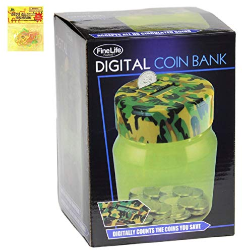 astic Countable Clear Jar Coin Counter Piggy Bank for Boys Girls Kids Adults with Silly Bands Holiday Last Minute Christmas Stocking Stuffer Gift Idea ()