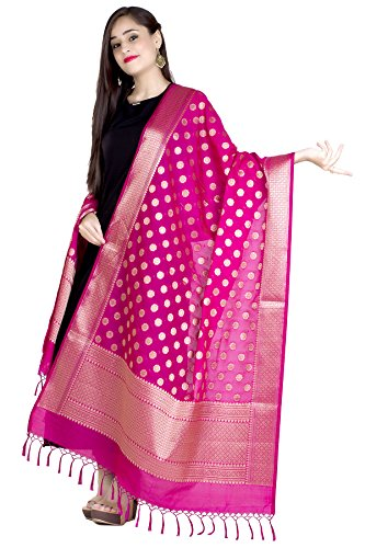 Chandrakala Women's Kataan Silk Blend Cutwork Brocade Banarasi Dupatta (Pink) by Chandrakala