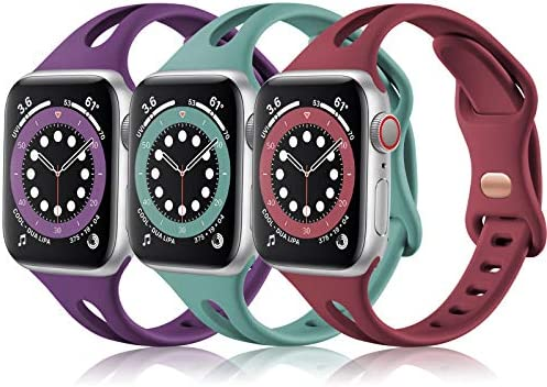 (3 Pack) Vcegari Sport Bands Compatible with Apple Watch 40mm 38mm Women, Soft Thin Silicone Strap for iWatch SE & iWatch Series 6 5 4 3 2 1, Wine/Plum/Pine Green