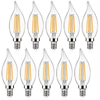 E12 LED Candelabra Bulbs Defurhome, 5W, 60W Equivalent, Flame Tip, 550LM, Non-Dimmable, Warm White 2700K, Decoration Glass Light Bulbs, Chandelier Candle Base, Pack of 10