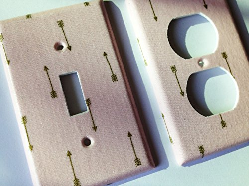 Pink And Metallic Gold Arrow Light Switch Plate Cover - Various Sizes Light Switchplates Offered