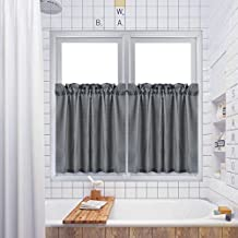 "Tier Curtains,Waffle Woven Textured Kitchen Tier Curtains Cafe Curtains, Rod Pocket Tailored Water-proof Half Window Tier Shower Curtain for Bathroom - 30"" x 24"", Grey, Set of 2"