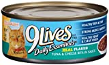 9 Lives Daily Essentials Real Flaked Tuna and cheese Bits in Sauce, 5.5-Ounce Cans 4 Count  (Pack of 6), My Pet Supplies