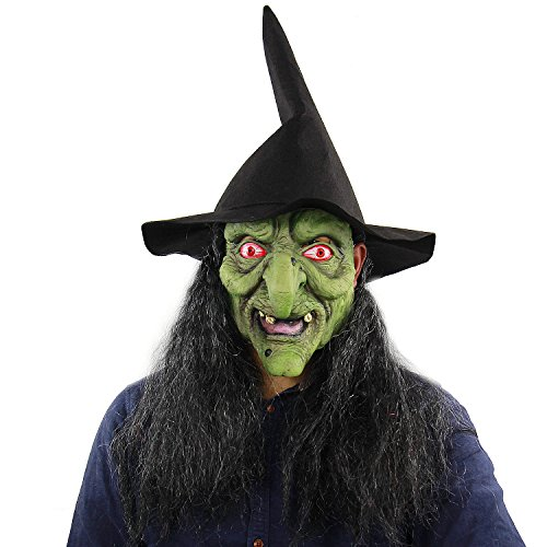 Qian Yu Scary Sorceress Halloween Costume Party Adult Horror Enchantress The Green Face Witch Latex Masks
