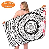 Microfiber Thin Lightweight Beach Towel-Large Quick Dry Super Absorbent Sand Free Bath Towels Blanket for Travel Swimming Girls Women Men Adults Black White Mandala Flamingo