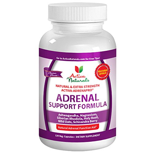 Activa Naturals Adrenal Supplement - 120 Veg. Caps with Dietary Herbal Energy Powders, Extracts & Supplements to Support Glandular Health to Combat Stress & Fatigue and Boost Natural Calm