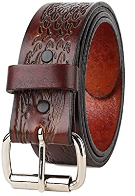 Western Eagle head Top Grain leather Belt,Roller buckle,w/Snaps for Interchangeable Buckles,Made in USA