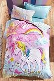 OZINCI 100% Cotton Unicorn Bedding Set, I Believe in Unicorns Themed Single/Twin Size Duvet Cover Set, Girls Bed Set Kids Bedroom (3 Pieces)