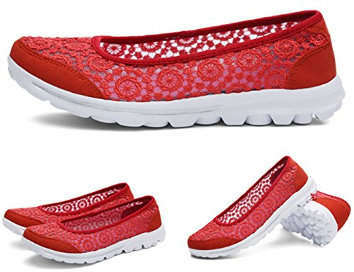 Shoes Flats Women's Casual Orange Mesh Slip Trainers Loafer DADAWEN Walking on 6zxwYqdYn4