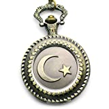 The Stars and Moon Embossment Design Rotundity Pattern Gun Color Case Antique Style Pocket Watch with Chain, Watch Central