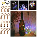 Sanniu Wine Bottles Lights, 12 Packs Cork Copper Starry Wine Bottle Fairy Lights for Bottle, Battery Operated Beer Bottle Lights Kit for Bedroom, Parties, Wedding, Decoration(2m/7.2ft Multi Color)