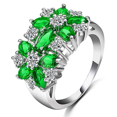 ELFTUNE 925 Sterling Silver Oval Multi Cubic Zirconia Simulated Emerald Round Cut CZ Flower Cluster Birthstone Women Girls Dainty Ring