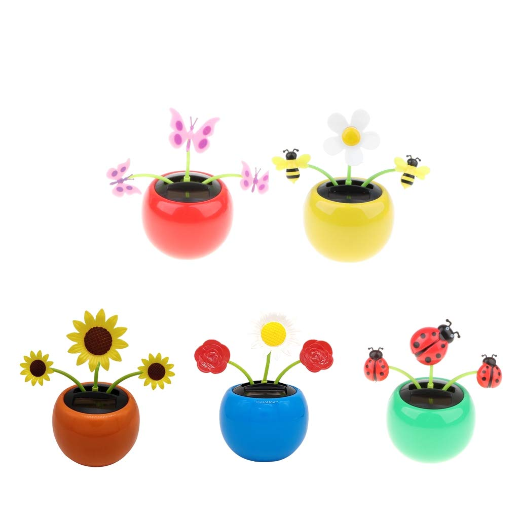 Fenteer 5 Pieces Solar Powered Dancing Flower Insect Toy Swing Plant Home Car Decor Xmas Gift