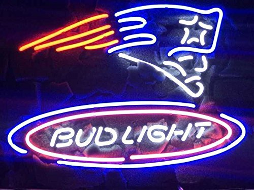 "Desung New 20""x16"" Bud-Light New England Sports Team Patriot Neon Sign (Multiple Sizes Available) Man Cave Signs Sports Bar Pub Beer Neon Lights Lamp Glass Neon Light CX233"