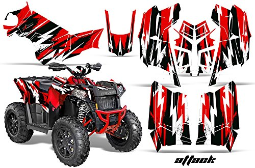 AMRRACING Polaris Scrambler 850 2013-2016 Full Custom UTV Graphics Decal Kit - Attack Red ()
