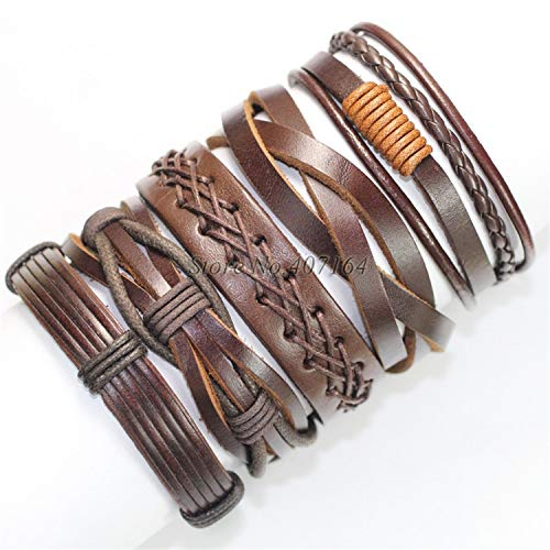 (Pop 5pcs brown wrap real leather bracelet men 2019 friendship Bracelets bangles for women pulseira masculina mujer bracciale,FL73)