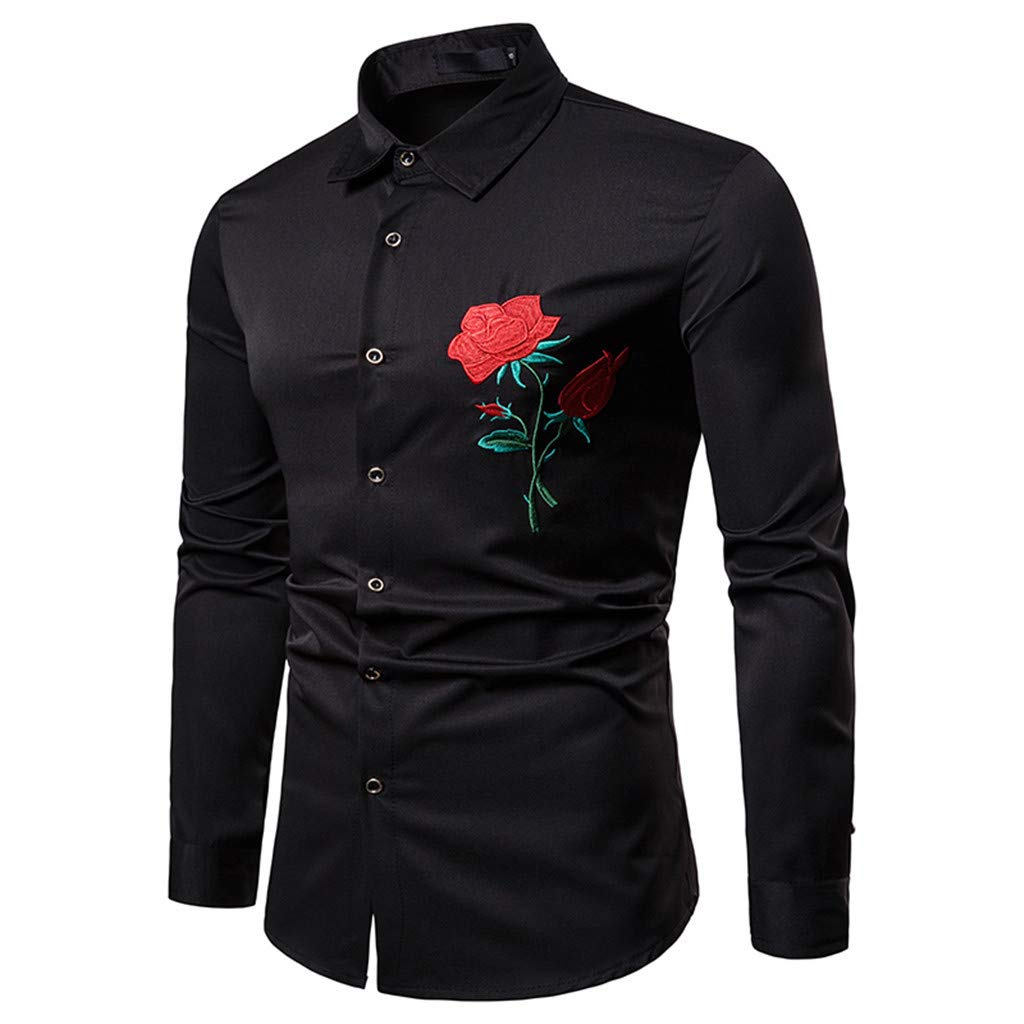 Latest Collection Of Luxury 100% Cotton Men Shirt Fashion Rose Three Dimensional Embroidery Mens Dress Shirt Trend Long Sleeve Slim Fit Casual Shirt Clients First Shirts Men's Clothing