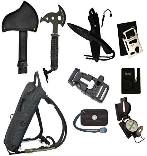 Ultimate-Arms-Gear-Survival-Camping-Hiking-Kit-Sharpener-Hatchet-Axe-Fire-Start-Blade-Knife-Whistle-Flint-Striker-3-In-1-Utility-Belt-Buckle-Hydration-Backpack-Multi-Tool-Compass-Signal-Mirror