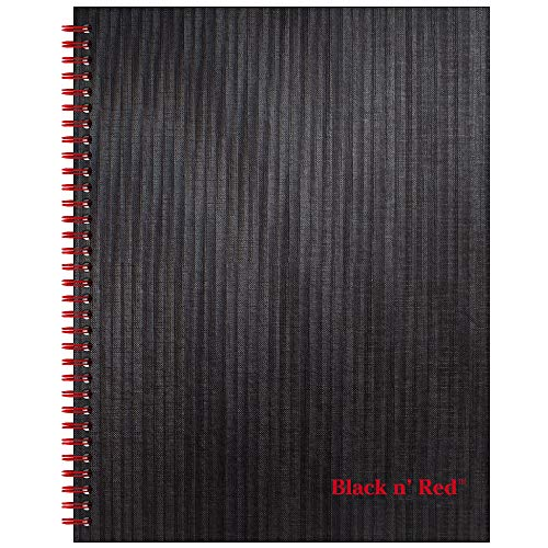 Black n' Red Twin Spiral Hardcover Notebook, Large, Black/Red, 70 Ruled Sheets, Pack of 1 (K67030) ()