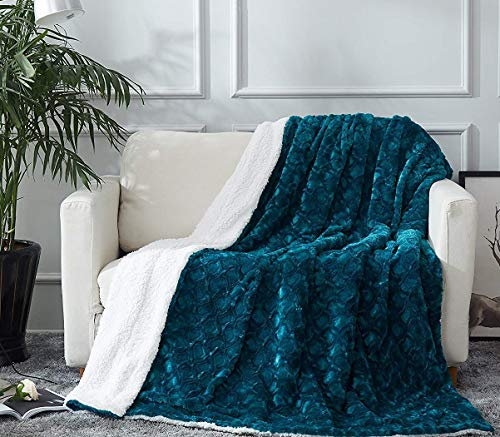DaDa Bedding Lavish Throw Blanket - Ruched Mermaid Scales Faux Fur Sherpa - Soft Warm Plush Fleece Textured - Bright Vibrant Embossed Green Blue Teal & White - 63