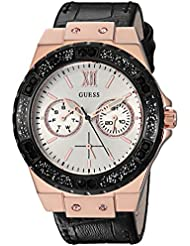 GUESS Womens Stainless Steel Crystal Casual Watch, Color: Rose Gold/Black (Model: U0775L9)