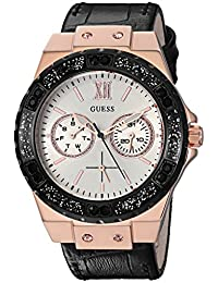 GUESS Women's Stainless Steel Crystal Casual Watch, Color: Rose Gold/Black (Model: U0775L9)