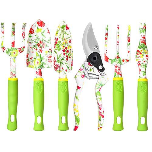 Kit de herramientas de aluminio para jadineria pack 6 verde