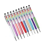 10Pcs Colors Crystal Diamond Pen Universal Capacitive Stylus &Touch Screens Ballpoint Pen for iPhone, iPad, Tablets,Android (10)