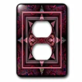 3dRose lsp_24842_6 Mandala 10 Chakra Purple Pink Black Flowerpower Hippie India Orient Oriental Meditate Peace Harmony 2-Plug Outlet Cover