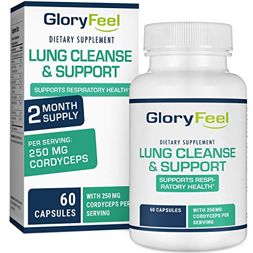 Gloryfeel Lung Cleanse Support Supplement – Respiratory Support – Helps to Quit Smoking & Supports Respiratory Health – Lung Support & Asthma Relief, with Vitamins, enzymes & Herbs