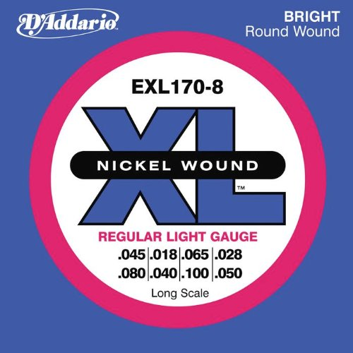 D'addario EXL1708 XL Reg Light Nickel Wound Long Scale Electric Bass 8 String Set (18-100)
