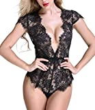 Anyou Women Lingerie Lace Teddy Features Plunging Eyelash and Snaps Crotch Black Small