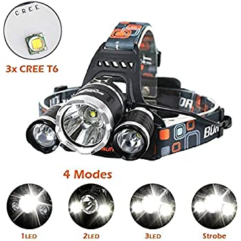 Brightest and Best LED Headlamp 10000 Lumen flashlight - IMPROVED LED, Rechargeable 18650 headlight flashlights, Waterproof Hard Hat Light, Bright Head Lights, Running or Camping headlamps …