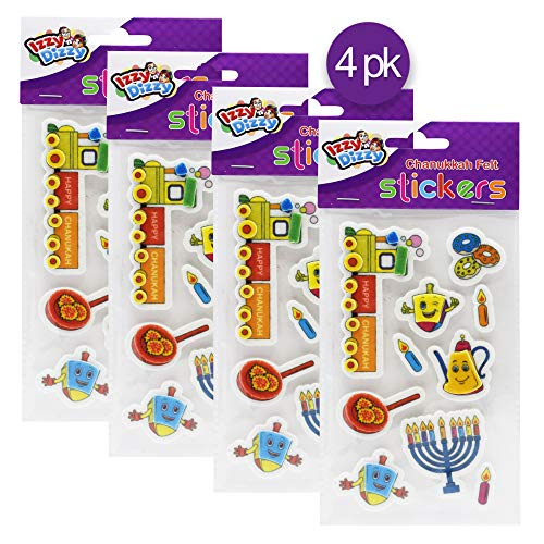 Izzy 'n' Dizzy Hanukkah Felt Stickers - 4 Pack - Dreidels, Menorahs, Donuts and More - Chanukah Stationary, Arts and Crafts - Gifts and Games ()