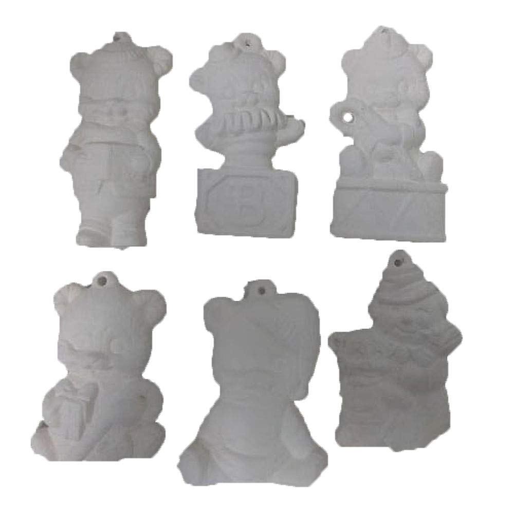 Bear Christmas Asst #2 Ornaments Set of 6 Ready to Paint Ceramic Bisque CreativeKreationsCeramics