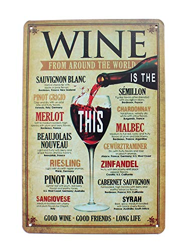 H&K Wine from Around The World Retro Distressed Metal Tin Sign Posters Wall Decor 12X8-Inch (Wine) ()