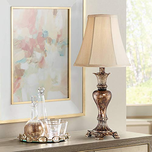 (Xavier Traditional Accent Table Lamp Warm Bronze Urn Footed Base Natural Tone Bell Shade for Living Room Family Bedroom - Regency Hill)