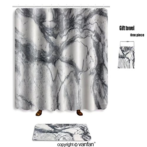 vanfan bath sets with Polyester rugs and shower curtain marble texture marble wallpaper background te shower curtains sets bathroom 69 x 90 inches&31.5 x 19.7 inches(Free 1 towel and 12 - Flat Marble Review