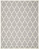 Safavieh Cambridge Collection CAM134D Handcrafted Moroccan Geometric Silver and Ivory Premium Wool Area Rug (8' x 10')