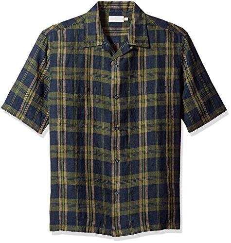 Vince Men's Short Sleeve Cabana Shirt, Navy/Green, Large