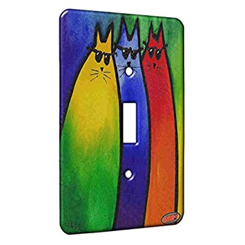 Single Gang Toggle Switch Wall Plate - Very Colorful Cool Kitties in  Sunglasses Abstract Cat Art by Denise Every